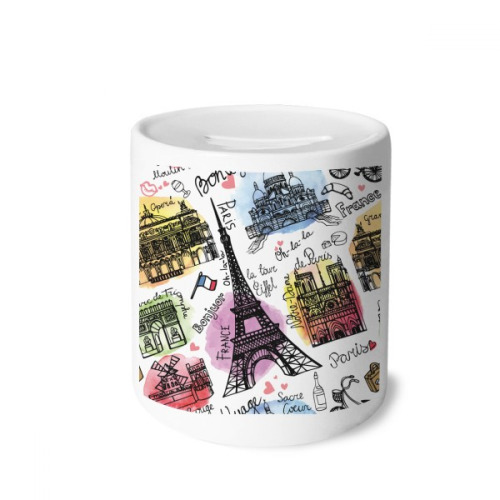 Building France Eiffel Tower Watercolor Money Box Saving Banks Ceramic Coin Case Kids Adults