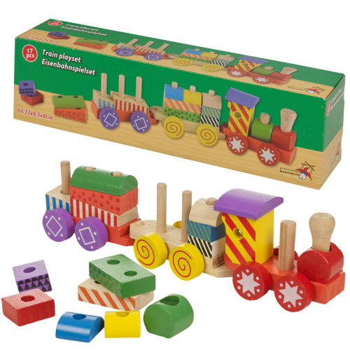 17 Piece Wooden Train Kids Toy Play Set Children Role Play Colourful