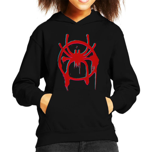Distorted Spider Man Into The Spiderverse Spray Paint Kid's Hooded Sweatshirt