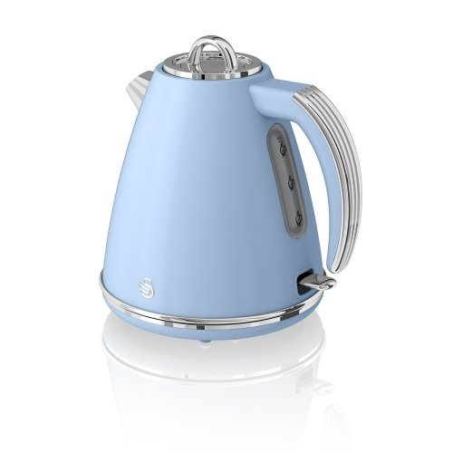 Swan, SK19020BLN, Retro 1.5 Litre Jug Kettle with 360 Degree Rotational Base, 3KW, Blue