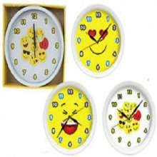 10' Wall Clock With Icon Faces - 4 Assorted Designs. - Novelty Bedroom 10 Emoji -  wall clock faces novelty bedroom 10 emoji funny emotions icon