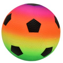 "GLOW Soft Play Neon Sponge Football Pool Toy - Bright and Colourful 6"" Bouncy PU Foam Soccer Ball with Multicolour Rainbow Colour Design – Lightweight Indoor and Outdoor Playing Sports Play Game Safety Sponge World Cup Premiership Footie Training Toy"