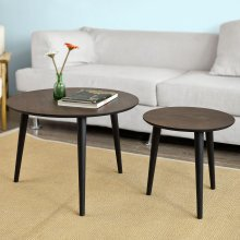 SoBuy® FBT40-BR, Nesting Tables, Set of 2 Round Wooden Coffee Table Side End Table