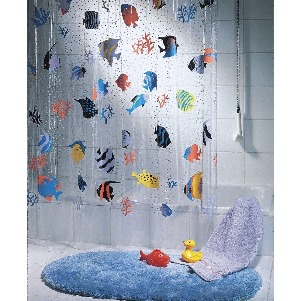 Spirella Fish PEVA Clear Plastic Shower Curtain 180 X 200 Cm Blue Orange
