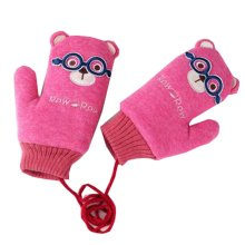 Red Double Thicken Owl Kids Gloves Moving Easily (4-10 Years) Mittens