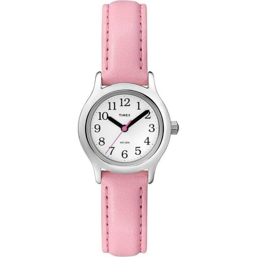 Timex Kids Watch White Dial Analogue Display and Pink Leather Strap (T79081)