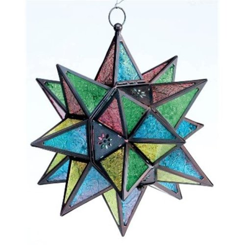 Zingz & Thingz 57070469 Jewel Tone Moroccan Style Star Candle Lantern