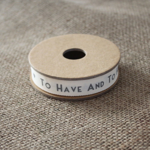 East of India 3m 'To Have And To Hold' Ribbon - White & Grey