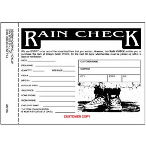 Centurion 100081 3 Part Rain Check - 25 Pack