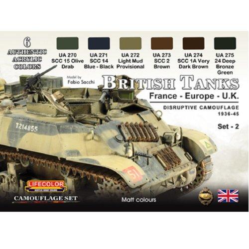 LifeColor British Tanks Set 2 France Europe and UK (22ml x 6)