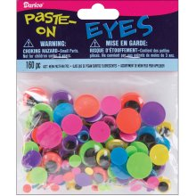 Paste-On Wiggle Eyes Assorted 160/Pkg-Black On Neon
