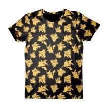 Pokemon Adult Male Pikachu All-Over Print T-Shirt Small Size - Black
