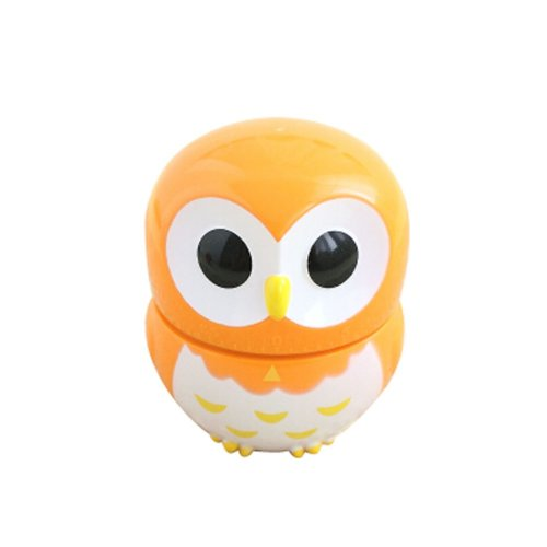 Cute Owl Mechanical Movement Kitchen Timer/Reminder-60 Minutes ORANGE