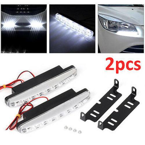 2X 8 LED 12V Daytime Running Lights Car Driving DRL Fog Lamp Light Super White