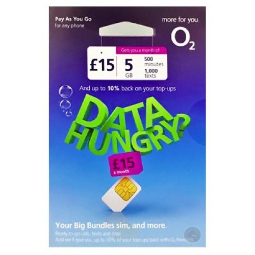 O2 Pay As You Go £15 a Month Gets You 5GB Data + 500 Minutes + 1,000 Texts