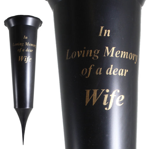 Graveside Memorial Spiked Flower Vase - In Loving Memory of a Dear Wife
