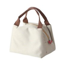Exquisite Beauty Waterproof Oxford Cloth Lunch Bag, Beige Stripe