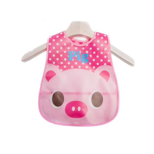 Lovely Cartoon Design Baby Bib Best Home/Travel Bib Soft,Waterproof Pink Pig