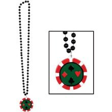 Beads w/Poker Chip Medallion Party Accessory (1 count) (1/Card)
