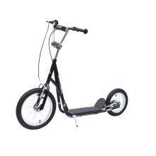 (Black) Homcom Push Scooter With Kickstand & Brakes