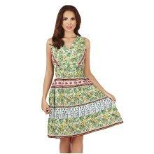 Martildo Fashion, Ladies Knee Length Floral Print Crossover Dress, Green, Medium (UK 12-14)