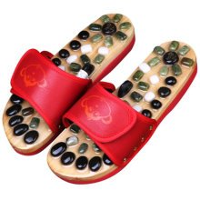Antiskid Massage Lodestone Décor Wooden Slippers Shoes Flat Heels - Red