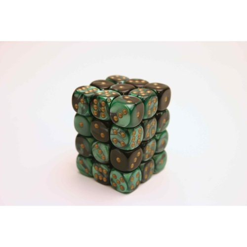 Chessex Gemini 12mm D6 Block - Black-Green/gold