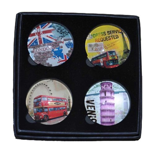 Set of 4 Travel Magnetic Stickers Glass Refrigerator Magnets Kitchen Magnets