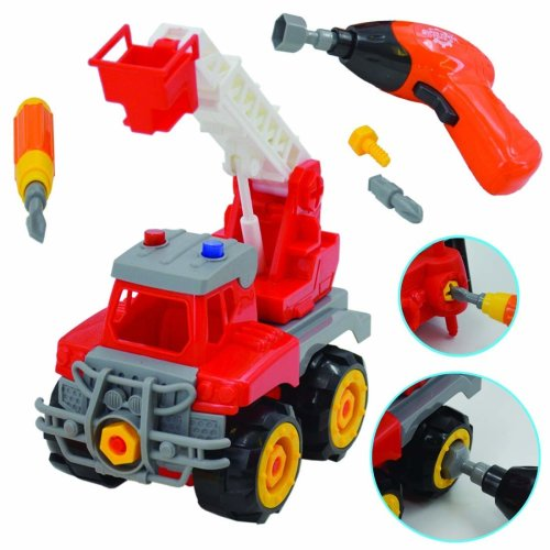 deAO Take-Apart Construction Trucks Vehicles to Assemble Screw Driver and Electronic Drill Included (Crane Truck)