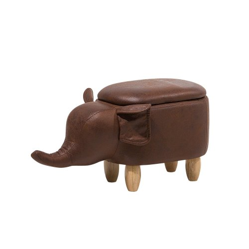 Faux Leather Storage Stool Brown ELEPHANT
