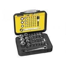 Stanley Tools Bit & Socket Set of 39 + Ratchet End Metric 1/4 Drive