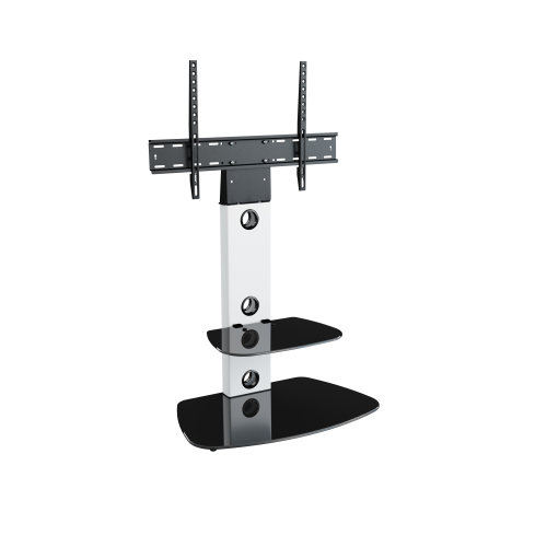 King Cantilever TV Stand with Brackets, White, Rounded Base, TVs up to 60""
