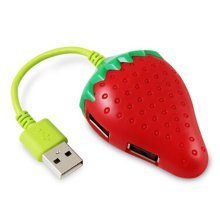 High-Speed USB 2.0 4-Port USB Hub Creative Strawberry USB Hubs
