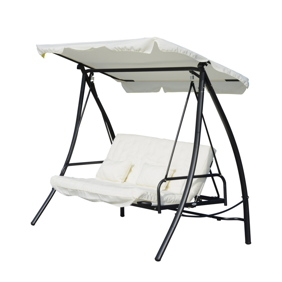 Outsunny 3 Seater Swing Chair 2 In 1 Hammock Bed Patio Garden Cushion Outdoor Canopy Convertible Lounger Porch Backyard Cream White On