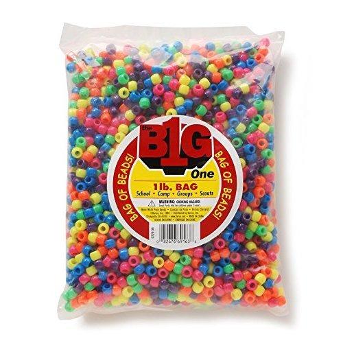 Darice Plastic Pony Beads 6mmX9mm 1lb-Opaque Neon