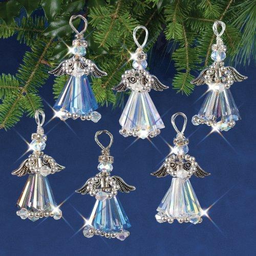 Nostalgic Christmas Beaded Crystal Ornament Kit-Crystal Angels Silver