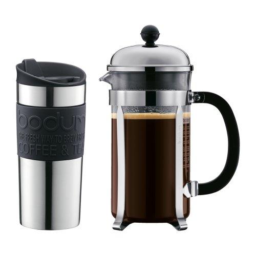 Bodum Chambord Cafetiere and Travel Mug Gift Set