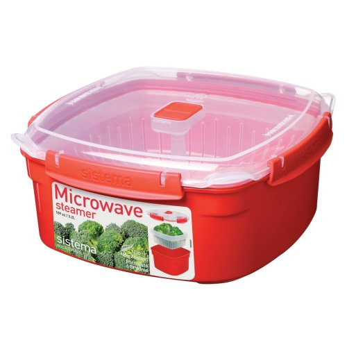 Sistema Microwave Large Steamer with Removable Steamer Basket, 3.2 L - Red/Clear