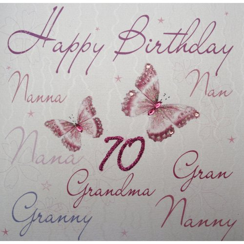 WHITE COTTON CARDS Wb125 70 Nannanannanagrangrannynannygrandma Happy Birthday Handmade 70th Card White On OnBuy