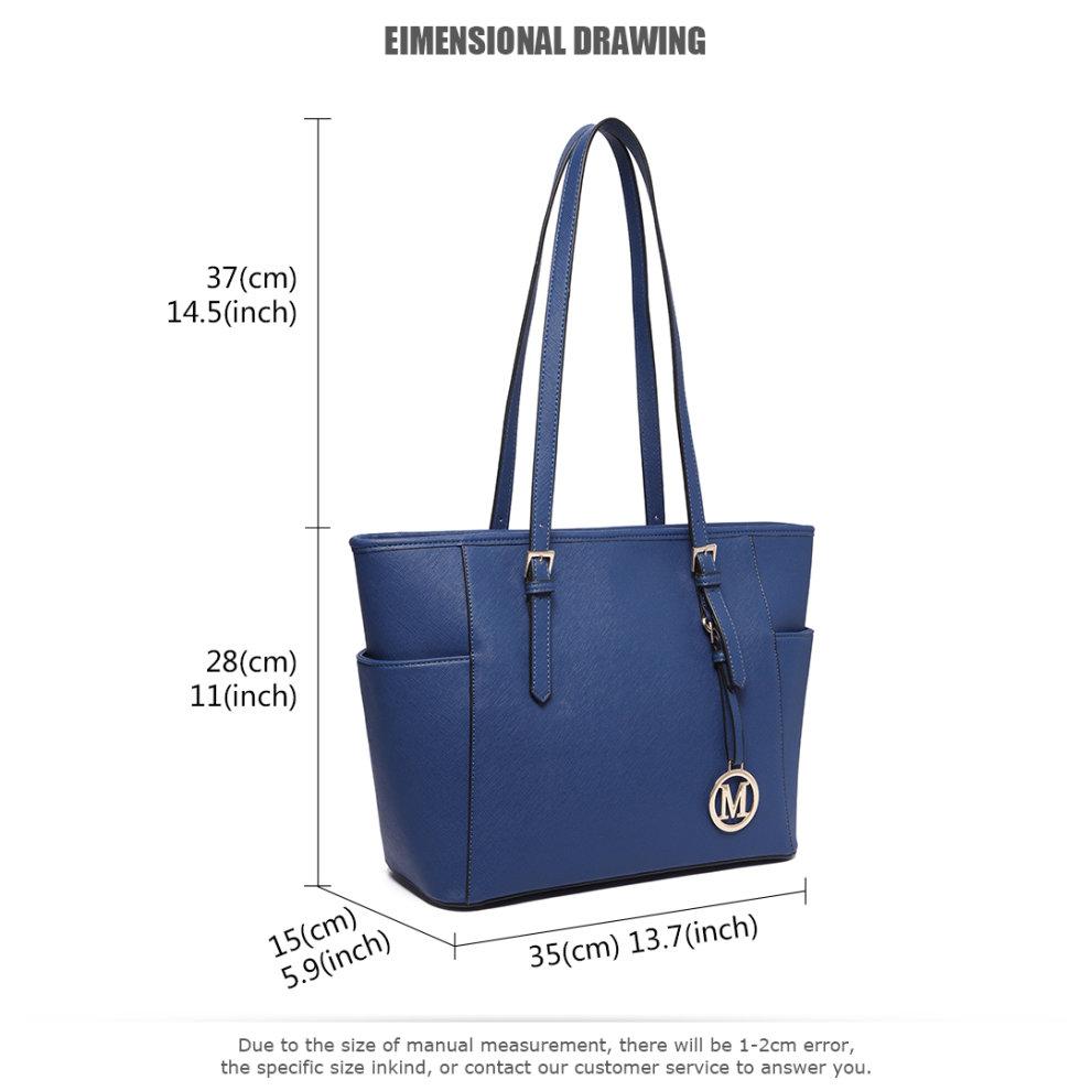 ... Miss Lulu Women Adjustable Shoulder Handbag Leather Tote Bag Navy - 6.