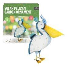 Solar Powered Pelican Light LED Garden Bird Ornament Metal Outdoor Decoration