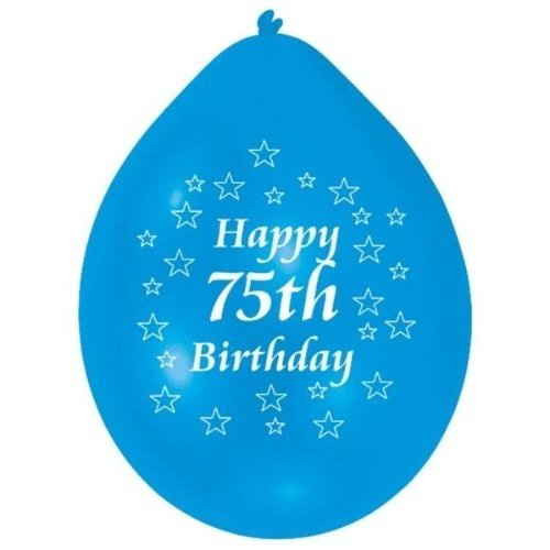 10pk Happy 75th Birthday Balloons