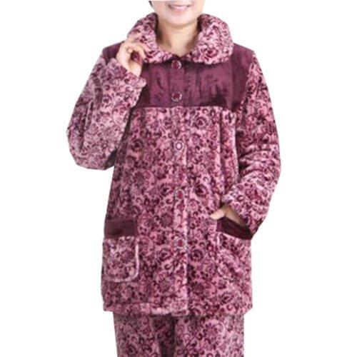 Casual Pajama Set Warm Sleepwear Home Apparel Flannel Pajamas X-large-A8