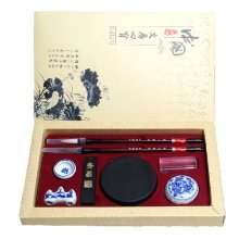 Luxury Calligraphy Set Four Ink Brushes, Inkstone, Stand, Stamp& Inkpad