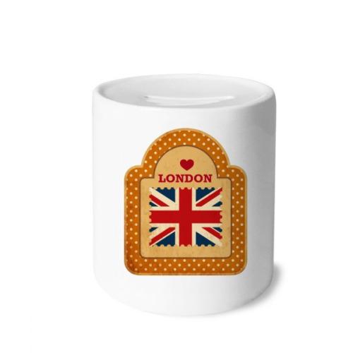 Point UK London Stamp Union Jack Money Box Saving Banks Ceramic Coin Case Kids Adults