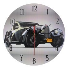 Home Decoration MDF Nostalgic Retro Black Car Scene Wall Clock 28cm