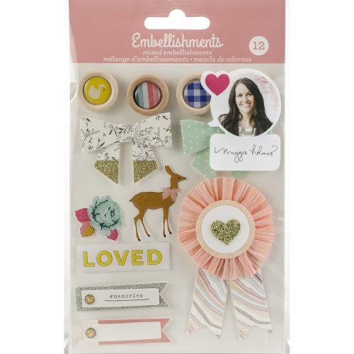 Maggie Holmes Mixed Embellishments 12/Pkg-Brads & Chipboard Shapes