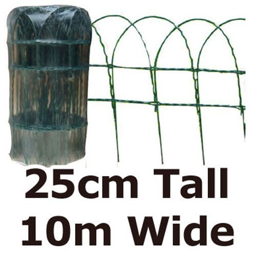 Green Blade Bb-cw125 10 x 0.25m Pvc Coated Border Fence - Green -  border fence x pvc green coated garden 10m 025m wire lawn fencing blade edging