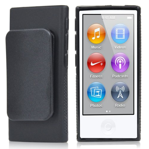 TRIXES Black TPU Clip Gel Case for Apple iPod Nano 7th Generation Cover Shell