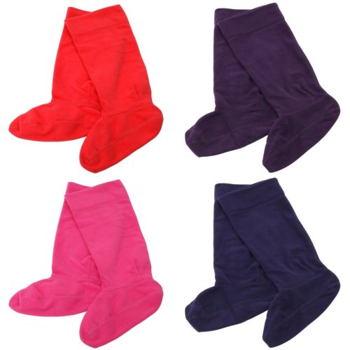 Childrens/Kids Girls Plain Fleece Wellie Boot Socks (1 Pair)